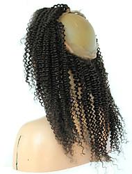 360 frontal Très Frisé Cheveux humains Fermeture Brun roux Dentelle Française 75-95 gramme Moyenne Taille du Bonnet