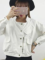 Damen Solide Einfach Lässig/Alltäglich Jacke,Ständer Herbst Langarm Rosa / Weiß / Grün Baumwolle Mittel