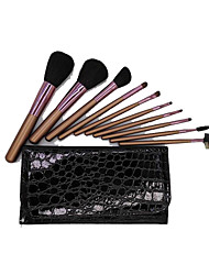 10 Makeup Brushes Set Horse Horse Hair Wood Face NFSS / Send Package