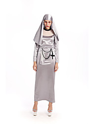 Cosplay Costumes Wizard/Witch Movie Cosplay Silver Solid Dress / Headwear Halloween / Carnival Female Polyester