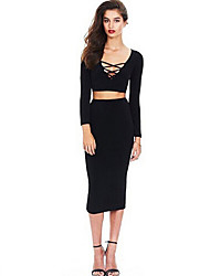 Women's Formal / Party/Cocktail Sexy Spring / Fall T-shirt Skirt Suits,Solid V Neck Long Sleeve Blue / White / Black / GrayCotton /