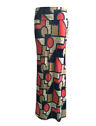 Women's Color Block Red Skirts,Boho Maxi