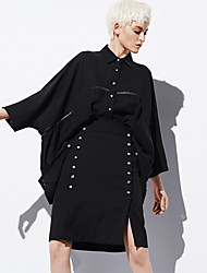 Damen Extraklein Röcke,Bodycon einfarbig Geschlitzt,Arbeit Einfach Hohe Hüfthöhe Knielänge Reisverschluss Polyester Unelastisch