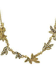 Antique Gold Color Rhinestone Flower Collar Necklace