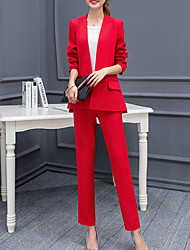 costumes Femme,Couleur Pleine Décontracté / Quotidien simple Toutes les Saisons Manches Longues Revers Cranté Rouge / Blanc Polyester