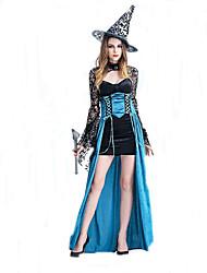 Costumes de Cosplay Sorcier/Sorcière Cosplay de Film Bleu Couleur Pleine Robe / Chapeau Halloween / Carnaval Féminin Polyester