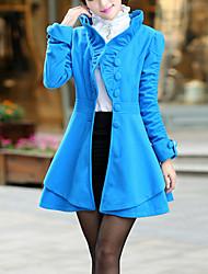 Feminino Casaco Trabalho Vintage Outono / Inverno,Sólido Azul / Rosa / Vermelho Lã / Algodão Colarinho Chinês-Manga Longa