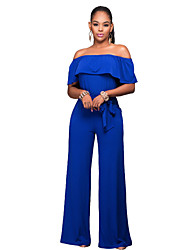Women's Solid Layered Backless Slim Club Wide Leg JumpsuitsSexy / Simple Boat Neck Short Sleeve