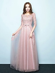 Formal Evening Dress A-line Jewel Floor-length Tulle with Sash / Ribbon