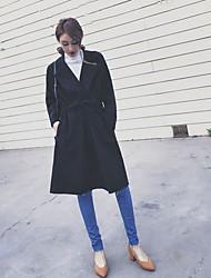 Feminino Casaco Happy-Hour / Casual Simples / Moda de Rua Outono / Inverno,Sólido Preto Lã Colarinho de Camisa-Manga Longa Média