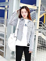 Feminino Jaquetas Jeans Happy-Hour Fofo Outono,Listrado Azul Poliéster Colarinho de Camisa-Manga Longa Média