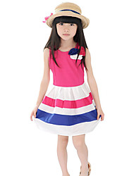 Girl's Casual/Daily Striped Dress,Polyester Summer Red / Yellow