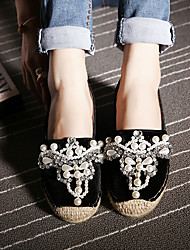 Women's Loafers & Slip-Ons Spring Fall Winter Comfort PU Casual Flat Heel Crystal Feather Black Pink Others