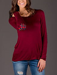 Tee-shirt Femme,Mosaïque Décontracté / Quotidien simple / Chic de Rue Printemps / Automne Manches Longues Col Arrondi Rouge / Gris