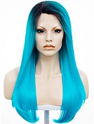 imstyle 24''drag reine belle bleu électrique racine noire en dentelle synthétique droite perruque avant