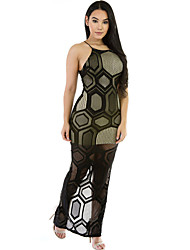 Women's Black Mesh Long Maxi Sleeveless Dress