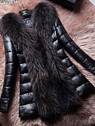 Women's Casual/Daily Simple Fur Coat,Solid Long Sleeve Winter White / Black Raccoon Fur