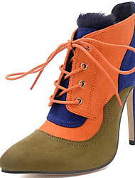 Women's Boots Spring / Fall / Winter Heels / Fashion Boots Fur Party & Evening / Casual Stiletto Heel Black / Orange
