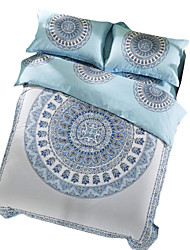 BeddingOutlet Bohemian Bedding Set Paisley Patterned Bed Linen Light Blue Cotton Bedclothes Queen 4pcs Coverlet Set