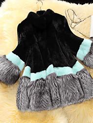 Manteau en Fourrure Femme,Couleur Pleine Décontracté / Quotidien simple Manches ¾ Col Arrondi Multi-couleur Fourrure de Raton Laveur Moyen