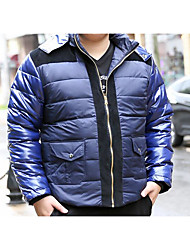 Men's Regular Down Coat,Simple Casual/Daily Solid-Polyester White Duck Down Long Sleeve Shirt Collar