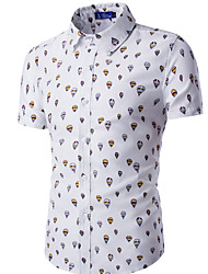 Men's Casual/Daily Simple Summer Shirt,Print Classic Collar Short Sleeves Cotton Thin