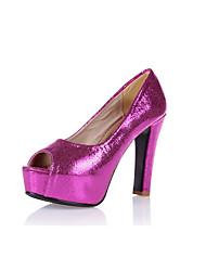 Feminino-Saltos-Plataforma Conforto Sapatos clube Light Up Shoes-Salto Carretel Plataforma-Azul Prateado Dourado Pêssego-Couro Ecológico-