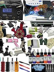 Ophir Top Tattoo Kit 2*Dragonfly Tattoo&2*Bullet Tattoo Machine Power Supply 9 Colour 30ML Inks Needle Set 356pcs