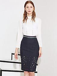Damen Röcke - Einfach Knielang Baumwolle / Nylon Mikro-elastisch