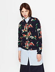 Women's Going out Cute Jackets,Floral Stand Long Sleeve Fall Black Polyester Medium