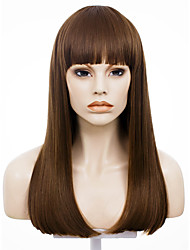 IMSTYLE20''Brown Natural Straight Machine No Lace Wig Synthetic Heat Resistant Fiber Dyeable