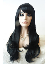 Sylvia Synthetic Lace front Wig Natural Black Heat Resistant Long Natural Wave With Bangs Synthetic Wigs For Black Women