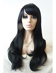 sylvia dentelle synthétique perruque avant naturelle résistant à longue vague de chaleur naturelle noire avec une frange de perruques