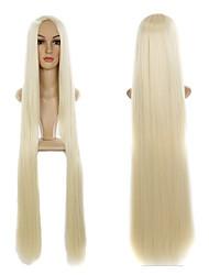 613 # blond 100cm de long mode longueur droites perruques de fête naturelle pour le centre de custume séparation perruques de haute