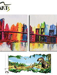 2 Panels Abstract City View Acrylic Painting Handmade Modern Wall Art Home Decor Get Free Dinasour Wall Sticker