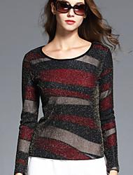 BOMOVO® Femme Col Arrondi Manche Longues T-shirt Bourgogne-B16QA84