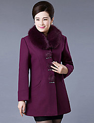 Women's Casual/Daily Simple Coat,Solid Long Sleeve Purple Wool