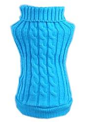 Katzen / Hunde Pullover Rot / Blau Hundekleidung Winter einfarbig Lässig/Alltäglich