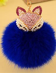 anillo de la llave del coche de zorro de peluche colgante de diamantes creativa linda