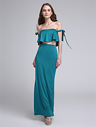 LAN TING BRIDE Ankle-length Off-the-shoulder Bridesmaid Dress - Sexy Sleeveless Jersey