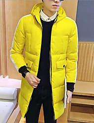Men's Casual/Daily Simple Coat,Solid Long Sleeve Winter Blue / Red / Black / Yellow / Purple Polyester