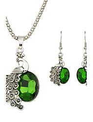 Beautiful Colorful Rhinestone Peacock Pendant Necklace Earrings Set