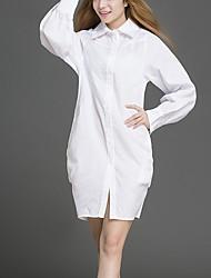 Feminino Camisa Vestido,Casual Simples Sólido Colarinho de Camisa Acima do Joelho Manga Longa Branco Poliéster Primavera / OutonoCintura