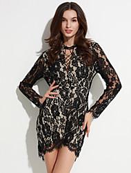 Damen Kleid - Bodycon Sexy / Klub Solide Mini Polyester / Elasthan Rollkragen