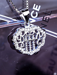 Women's Jewelry S925 Silver Zircon Charm Lock-shaped Pendant for Women