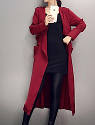 Women's Going out / Casual/Daily / Work Cute / Street chic / Sophisticated Trench Coat,Solid Round Neck Long Sleeve Fall / WinterRed /