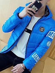 Cappotto Da uomo Casual Inverno Semplice,Con stampe Poliestere Blu / Rosso / Giallo Manica lunga