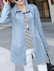 272 # Sign Hitz Slim Long denim jacket Women Korean long-sleeved denim jacket coat