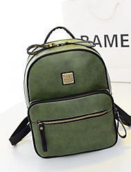Women PU Casual Backpack Green / Brown / Black