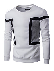 Men's Casual/Daily Simple Active Sweatshirt Color Block Round Neck Micro-elastic Cotton Long Sleeve Spring Fall